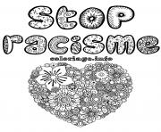 stop racisme adulte coeur mandala dessin à colorier