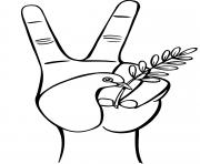 symbole paix V avec la main oiseau blanc et branche olive dessin à colorier