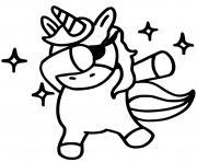 licorne emoji fait un dab dessin à colorier