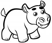 bebe hippopotame mignon dessin à colorier