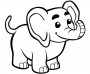 mignon bebe elephant dessin à colorier