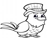 aigle avec chapeau haut de forme dessin à colorier