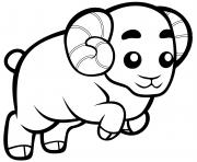 belier mignon fait le saut dessin à colorier