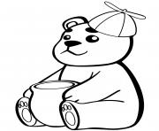 bebe ours avec un pot de miel dessin à colorier