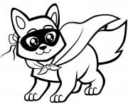 bebe renard avec un masque dessin à colorier