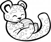 guepard mignon jouant avec une balle dessin à colorier