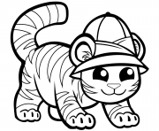 tigre mignon en casquette dessin à colorier