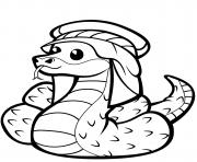 serpent mignon en coufique dessin à colorier