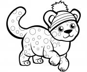 Un guepard mignon dans un chapeau d'hiver dessin à colorier