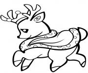 bebe cerf dans une couronne dessin à colorier