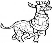 girafe avec foulard dessin à colorier