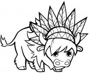 taureau avec des coiffes de chef dessin à colorier