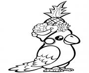 un perroquet mignon avec des fruits sur la tête dessin à colorier