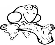 mignonne grenouille sur une branche dessin à colorier