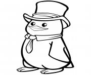 pungouin polaire avec une tenue chic dessin à colorier
