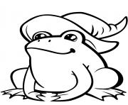 mignonne grenouille au chapeau de sorciere dessin à colorier