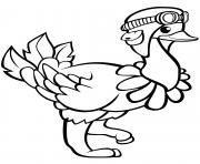 autruche avec un chapeau de pilote pret pour decoller dessin à colorier