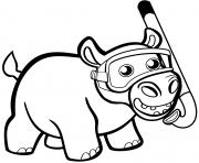 bebe hippopotame mignon avec tuba dessin à colorier