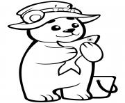 mignon petit ourson avec du poisson dessin à colorier