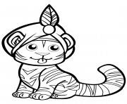 tigre mignon en turban dessin à colorier