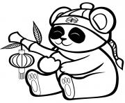un panda mignon avec une lanterne de bambou dessin à colorier