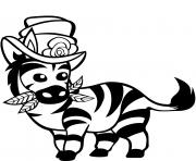 zebre mignon avec chapeau haut de forme dessin à colorier