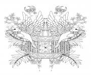 benediction oiseaux adulte avec des elements floraux dessin à colorier