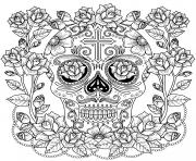 fantastique magnifique crane de roses et de croix modele anti stress dessin à colorier