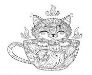 petit chaton dans tasse de cafe pour une detente dessin à colorier