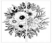 fleurs deux parties dessin à colorier