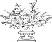 bouquet de fleurs rose pour anniversaire dessin à colorier