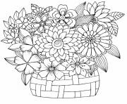 bouquet fleurs tulipe Felphinium Dahlia Jonquille dessin à colorier