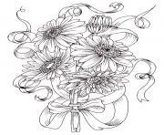 magnifique bouquet de fleurs marguerite dessin à colorier