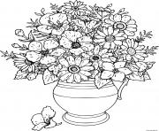 bouquet de fleurs dans un vase dessin à colorier