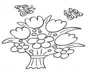 bouquet de fleurs au printemps maternelle dessin à colorier