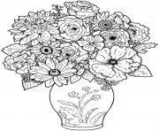 bouquet de fleurs original dessin à colorier