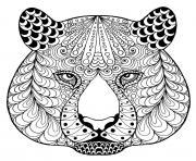 tete de tigre zentangle avec motifs dessin à colorier
