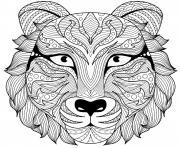 tete de tigre zentangle pour adulte dessin à colorier