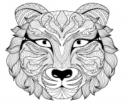 Coloriage tattoo tigre zentangle adulte avec yeux colore