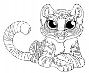Coloriage cartoon bebe tigre grand yeux