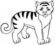 tigron avec rayure noire dessin à colorier