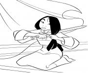 Mulan coupe ses cheveux dessin à colorier