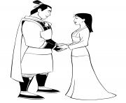 mulan et Li Shang dessin à colorier