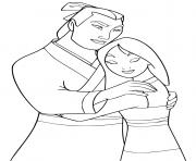 Li shang reconforte Mulan dessin à colorier