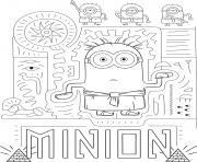 Minion 2 en mode pharaon et visite l Egypte dessin à colorier