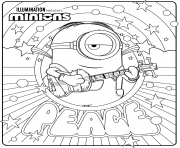 Minions 2 joue une chanson de paix avec sa guitare dessin à colorier