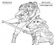 hawkeye merida and black widow mulan disney avengers dessin à colorier