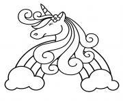 licorne heureuse au centre de arc en ciel multicolor dessin à colorier