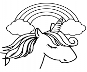 Coloriage cute cartoon licorne dessin