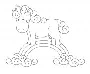 licorne magique sur un arc en ciel et des nuages dessin à colorier